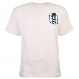 England White Short Sleeve Kids Retro Football Shirt